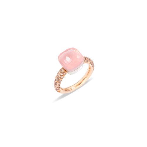 Pomellato Nudo Classic ring in rosé- en witgoud met rozenkwarts, chalcedoon en bruine diamant Leon Martens Juwelier