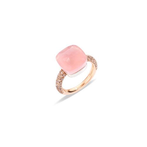 Pomellato Nudo Maxi ring in rosé- en witgoud met rozenkwarts, chalcedoon en bruine diamant Leon Martens Juwelier