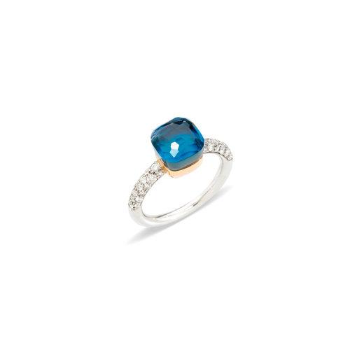 Pomellato Nudo Petit ring in wit- en roségoud met London topaas, turkoois en diamant Leon Martens Juwelier