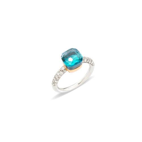 Pomellato Nudo ring in wit- en roségoud met blauwe topaas, agaat en diamant Leon Martens Juwelier