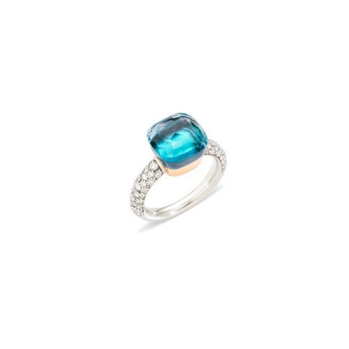 Pomellato Nudo Classic ring in wit- en roségoud met blauwe topaas, agaat en diamant Leon Martens Juwelier
