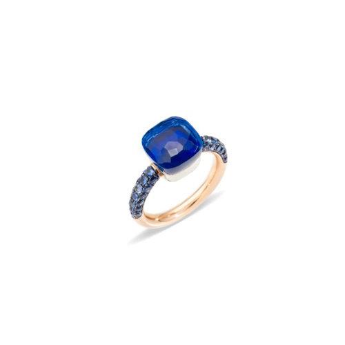 Pomellato Deep Blue Nudo ring in rosé- en witgoud met London topaas en lapis lazuli Leon Martens Juwelier