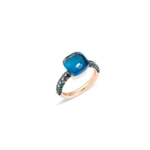 Pomellato Deep Blue Nudo ring in rosé- en witgoud met London topaas en turkoois Leon Martens Juwelier
