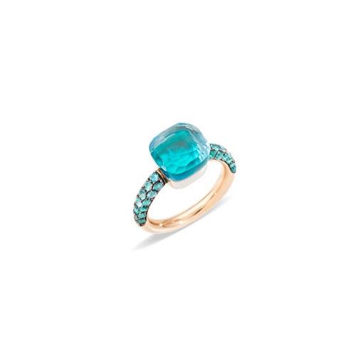Pomellato Deep Blue Nudo ring in rosé- en witgoud met blauwe topaas en agaat Leon Martens Juwelier