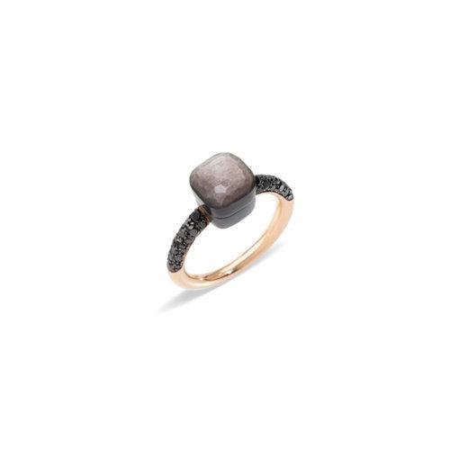 Pomellato Nudo ring in roségoud en titanium met obsidiaan en zwarte diamant Leon Martens Juwelier