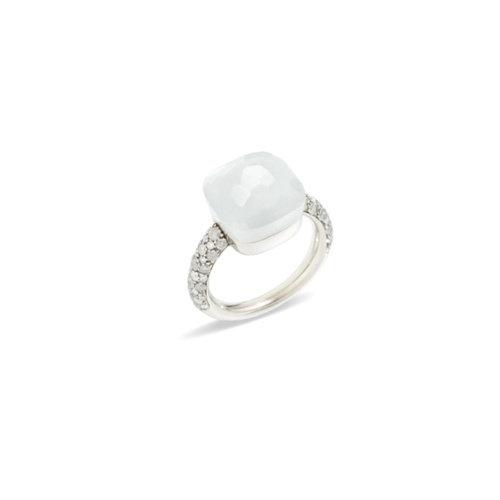 Pomellato Nudo Maxi ring in witgoud met maansteen en diamant Leon Martens Juwelier