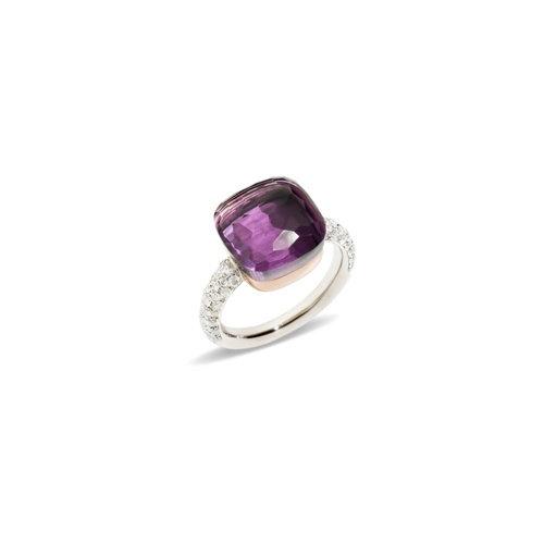 Pomellato Nudo ring in wit- en roségoud met amethist en diamant Leon Martens Juwelier