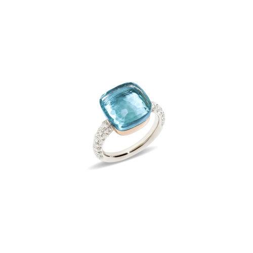 Pomellato Nudo ring in wit- en roségoud met blauwe topaas en diamant Leon Martens Juwelier