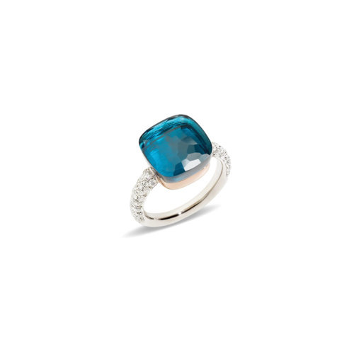 Pomellato Nudo ring in wit- en roségoud met London topaas en diamant Leon Martens Juwelier