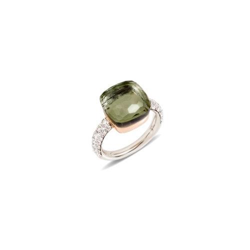 Pomellato Nudo ring in wit- en roségoud met prasioliet en diamant Leon Martens Juwelier