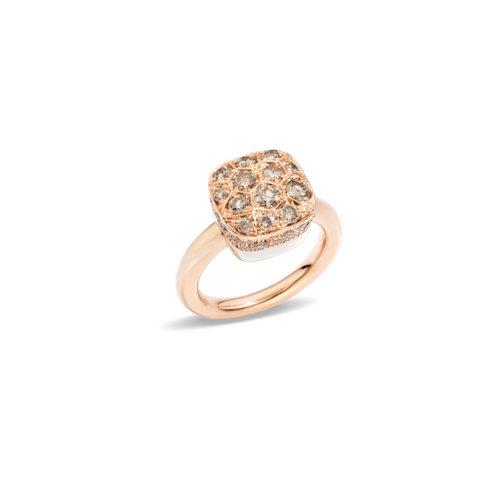Pomellato Nudo Solitaire ring in rosé- en witgoud met bruine diamant Leon Martens Juwelier