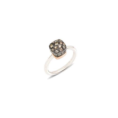 Pomellato Nudo Solitaire ring in wit- en roségoud met bruine diamant Leon Martens Juwelier
