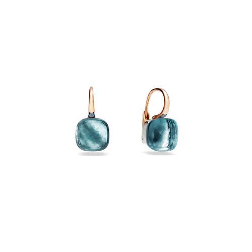 Pomellato Nudo oorhangers in rosé- en witgoud met blauwe topaas Leon Martens Juwelier