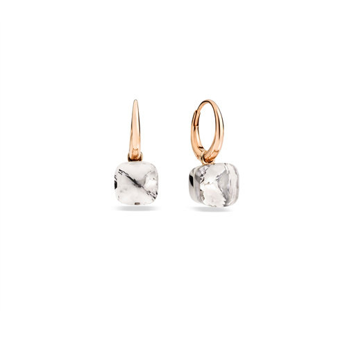 Pomellato Nudo oorhangers in rosé- en witgoud met witte topaas Leon Martens Juwelier