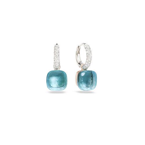 Pomellato Nudo oorhangers in wit- en roségoud met blauwe topaas en diamant Leon Martens Juwelier