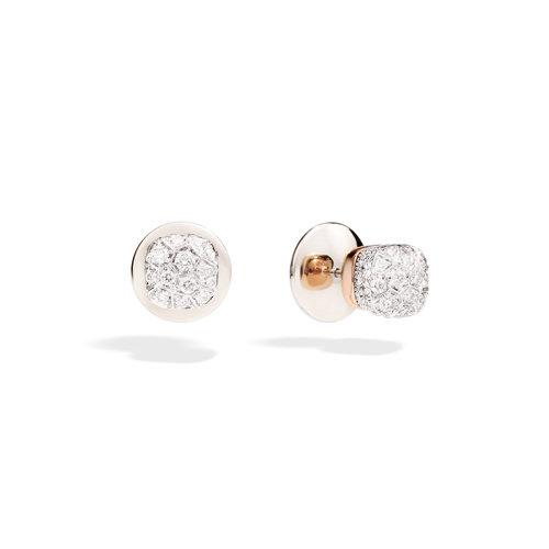 Pomellato Nudo oorstekers in wit- en roségoud met diamant Leon Martens Juwelier
