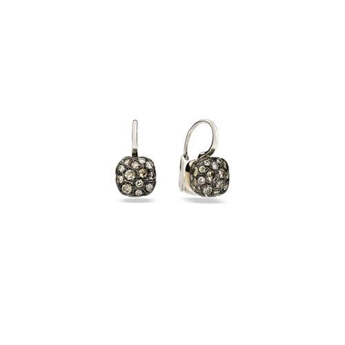 Pomellato Nudo oorhangers in wit- en roségoud met bruine diamant Leon Martens Juwelier