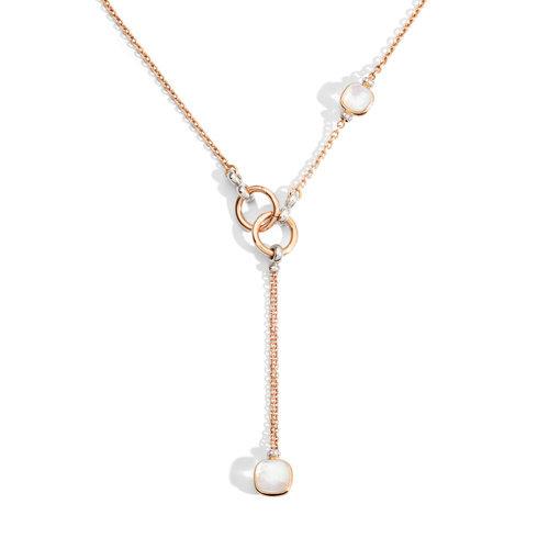 Pomellato Nudo collier in rosé- en witgoud met parelmoer, witte topaas en diamant Leon Martens Juwelier
