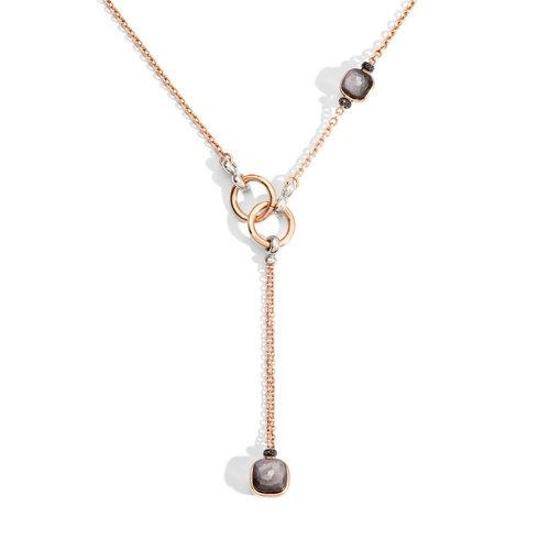 Pomellato Nudo collier in rosé- en witgoud met obsidiaan en zwarte diamant Leon Martens Juwelier