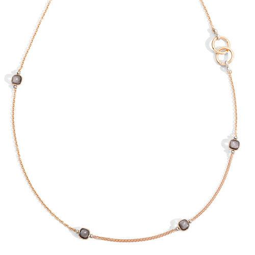 Pomellato Nudo collier in rosé- en witgoud met obsidiaan Leon Martens Juwelier