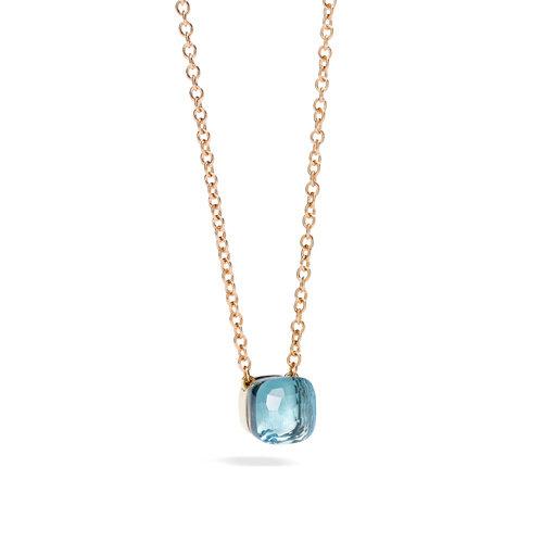 Pomellato Nudo collier in rosé- en witgoud met blauwe topaas Leon Martens Juwelier