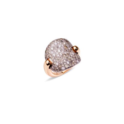 Pomellato Sabbia ring in roségoud met bruine en witte diamant Leon Martens Juwelier
