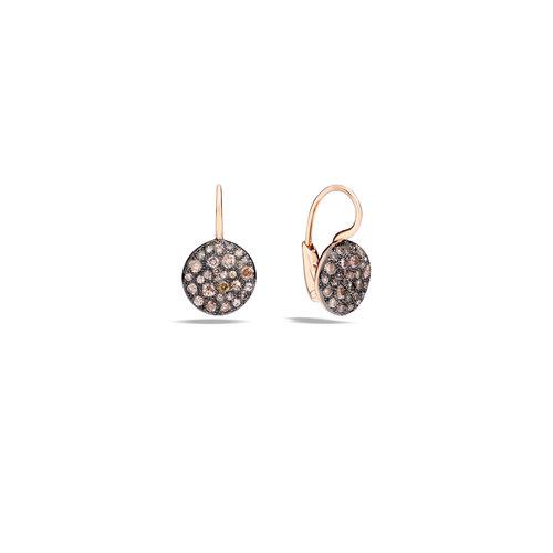 Pomellato  Sabbia oorhangers in roségoud met bruine diamant Leon Martens Juwelier