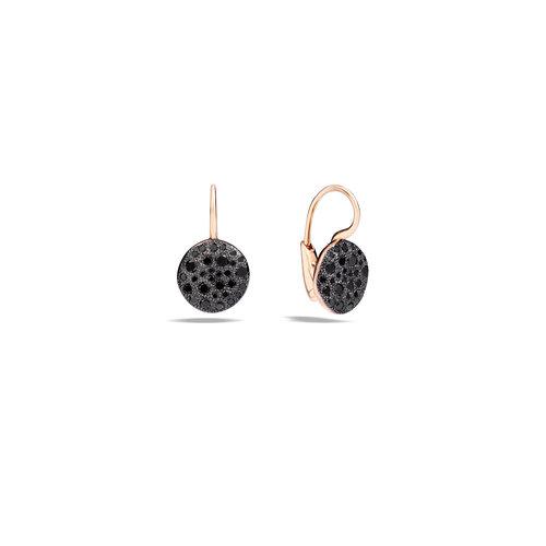 Pomellato Sabbia oorhangers in roségoud met zwarte diaman Leon Martens Juwelier