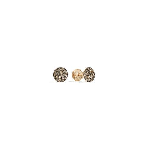 Pomellato Sabbia oorstekers in roségoud met bruine diamant Leon Martens Juwelier