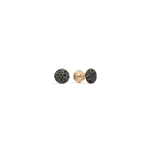 Pomellato Sabbia oorstekers in roségoud met zwarte diamant Leon Martens Juwelier