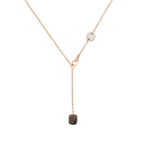 Pomellato Sabbia collier in roségoud met witte, bruine en zwarte diamant Leon Martens Juwelier