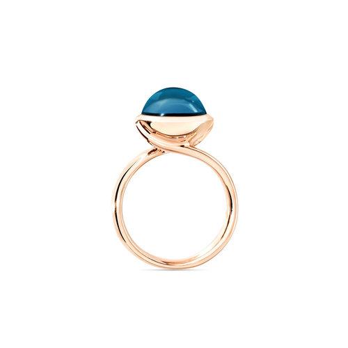 Tamara Comolli Bouton ring in roségoud met London topaas Leon Martens Juwelier