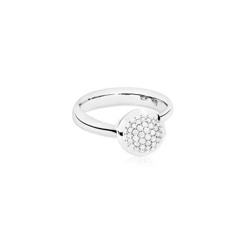 Tamara Comolli Bouton ring in witgoud met diamant Leon Martens Juwelier