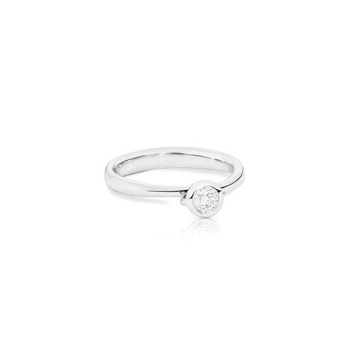 Tamara Comolli Bouton solitair ring in witgoud met diamant Leon Martens Juwelier