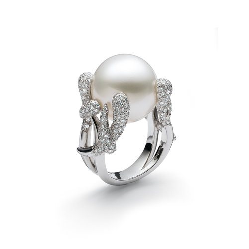 Leon Martens Ring in witgoud met diamant en een Zuidzee parel Leon Martens Juwelier