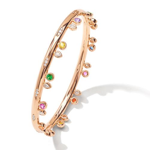 Tamara Comolli Gypsy Candy armband in roségoud met kleurrijke edelstenen en diamant Leon Martens Juwelier