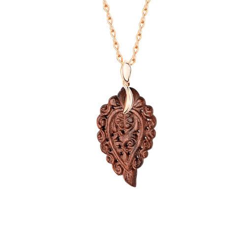 Tamara Comolli India Leaf hanger in roségoud met slangenhout Leon Martens Juwelier