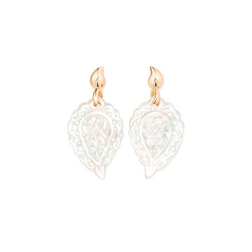 Tamara Comolli India Leaf oorhangers in roségoud met parelmoer Leon Martens Juwelier