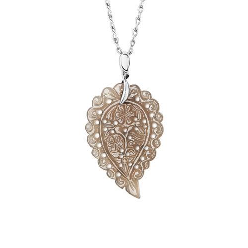 Tamara Comolli India Leaf hanger in witgoud met grijze chalcedoon Leon Martens Juwelier