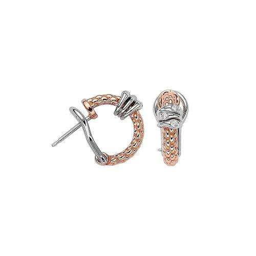 Fope Prima oorringen in rosé- en witgoud met diamant Leon Martens Juwelier