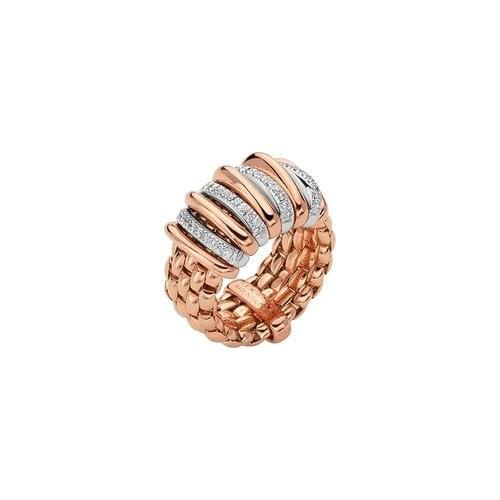Fope Panorama ring in rosé- en witgoud met diamant Leon Martens Juwelier