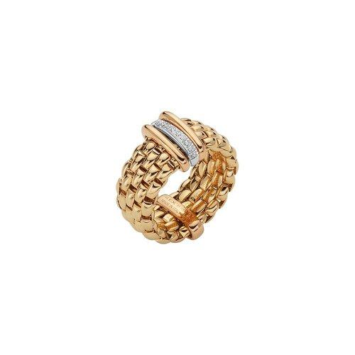 Fope Panorama ring in geel- en witgoud met diamant Leon Martens Juwelier