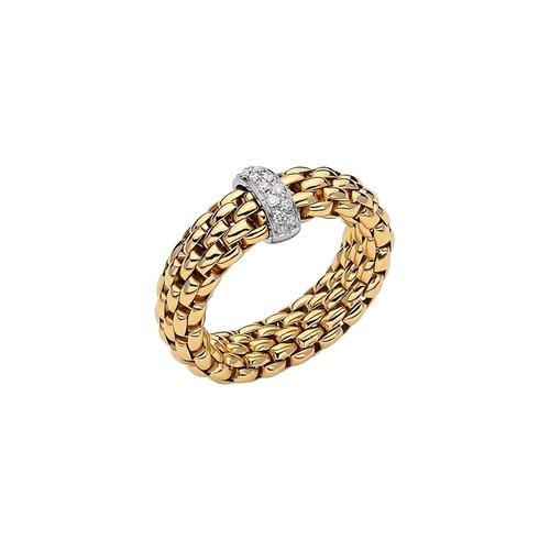 Fope Vendome ring in geel-, en witgoud met diamant Leon Martens Juwelier
