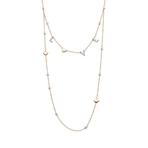 Tirisi Monte Carlo collier in rosé- en witgoud met diamant Leon Martens Juwelier
