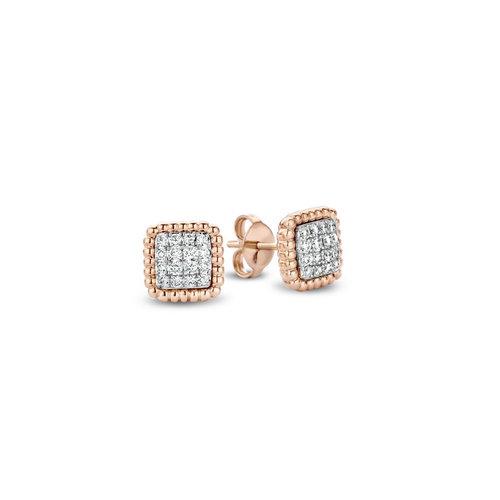 Tirisi Amsterdam oorstekers in rosé- met witgoud met diamant Leon Martens Juwelier