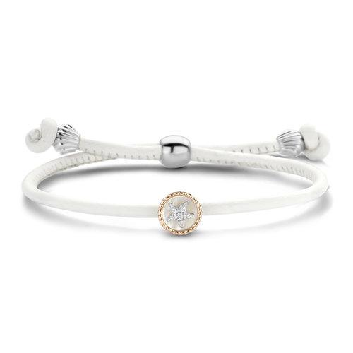 Tirisi Kisses armband, lederen koord met zilver, roségoud en diamant Leon Martens Juwelier