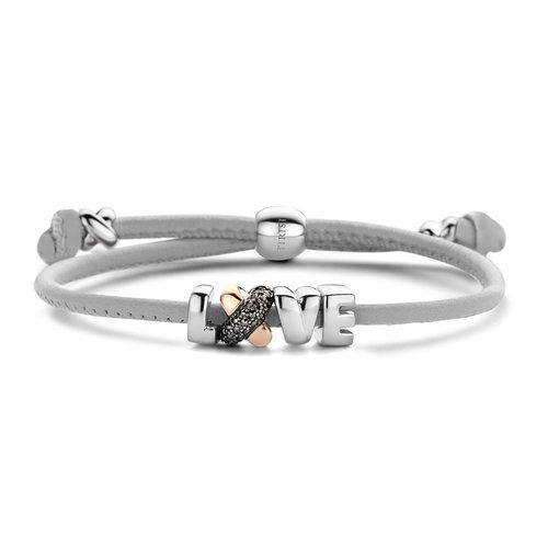 Tirisi Kisses armband, lederen koord met zilver, roségoud en markasiet Leon Martens Juwelier