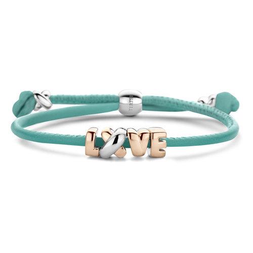 Tirisi Kisses armband, lederen koord met zilver en roségoud Leon Martens Juwelier
