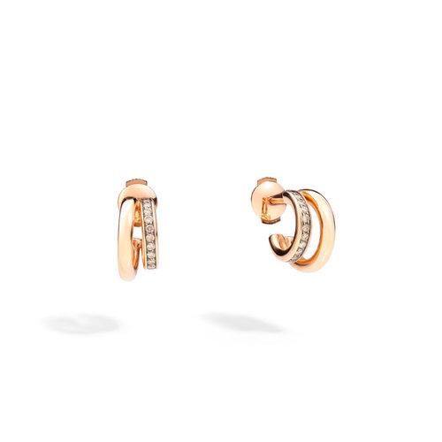 Pomellato Iconica oorringen in roségoud met bruine diamant Leon Martens Juwelier