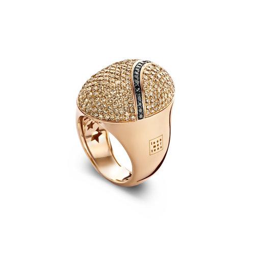 Leon Martens Scarabeo ring in roségoud met bruine en zwarte diamant Leon Martens Juwelier